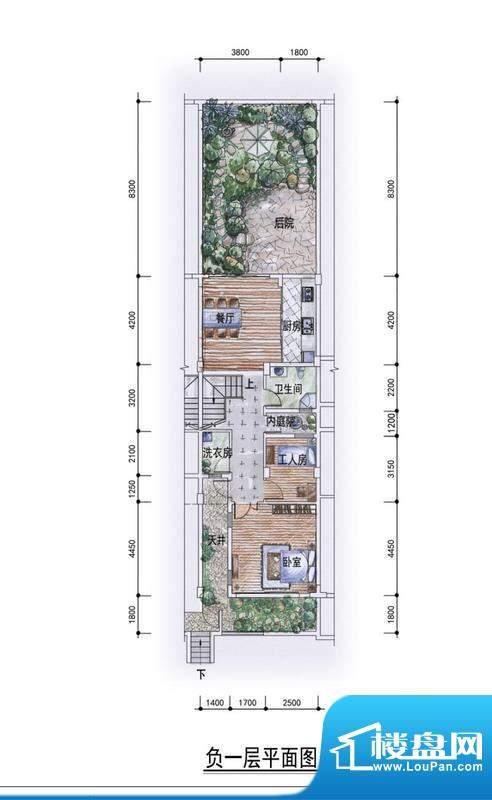 东方墅户型图H户型负一层户型图面积:263.00平米
