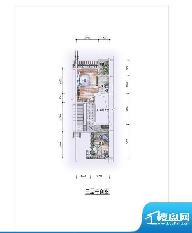 东方墅户型图H户型三层户型图 面积:263.00平米