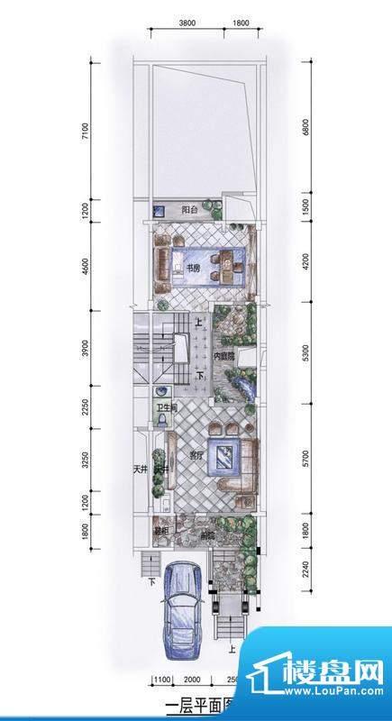 东方墅户型图H户型一层户型图 面积:263.00平米