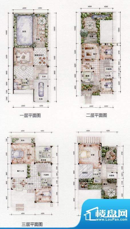 东方墅户型图河峰A户型图 6室4面积:537.67平米