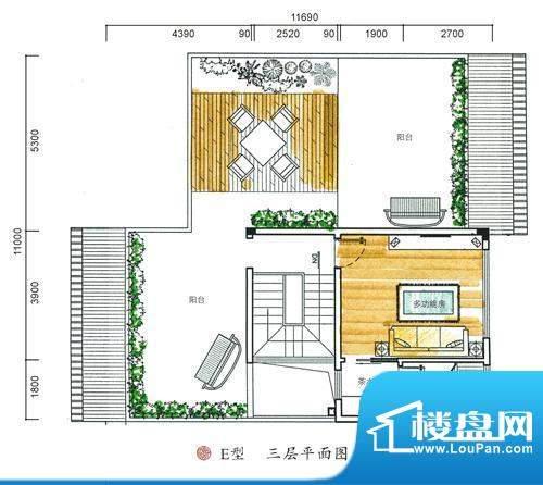 东方墅户型图E型三层户型图 5室面积:387.00平米