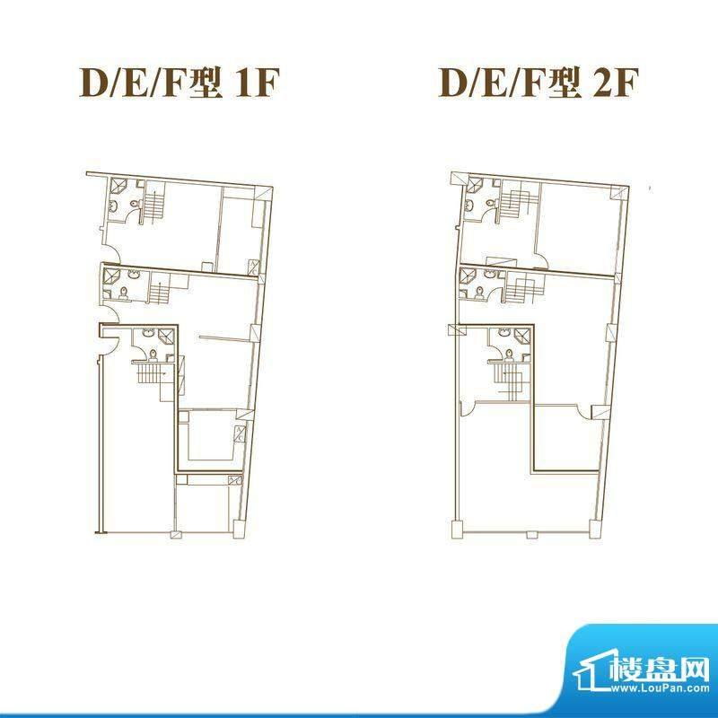 常汇生活广场户型图DEF户型三室面积:77.54平米