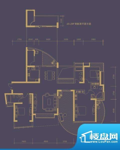 凤凰海域户型图2栋02房 3栋1单面积:184.00平米