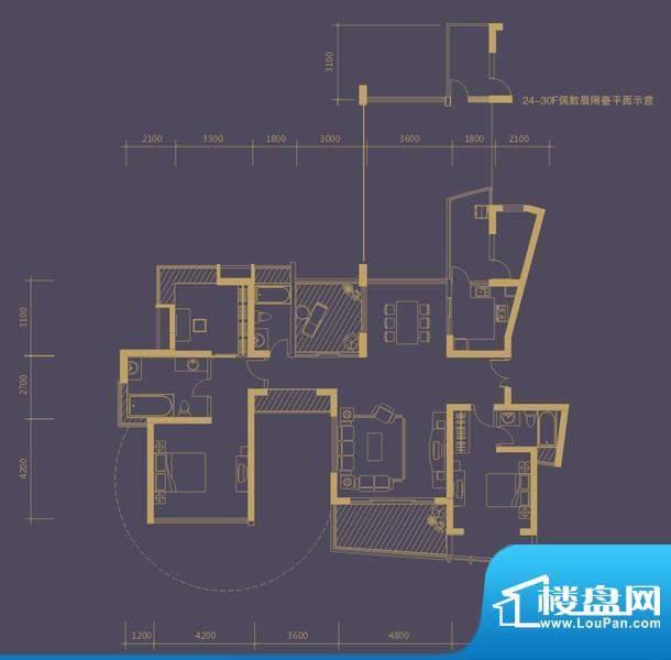 凤凰海域户型图1栋01房 2栋01房面积:174.00平米