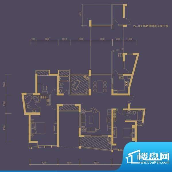 凤凰海域户型图3栋1单元01房 3面积:169.00平米