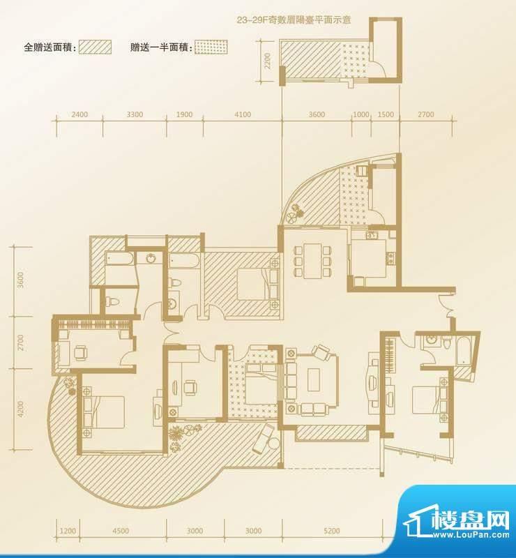 凤凰海域户型图A1户型 4室2厅3面积:227.76平米