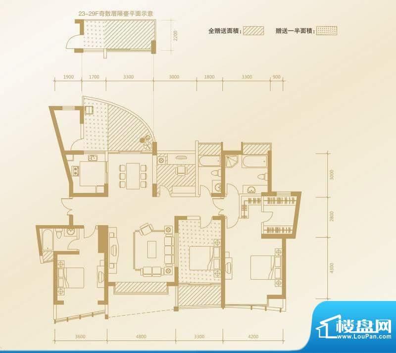 凤凰海域户型图B1户型 4室2厅3面积:189.63平米