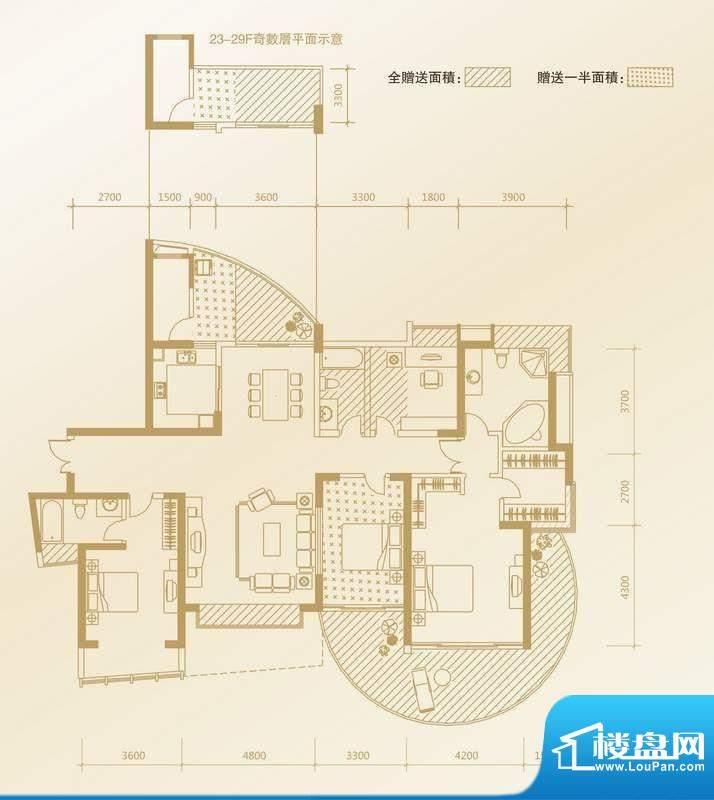 凤凰海域户型图D1户型 4室2厅3面积:199.48平米