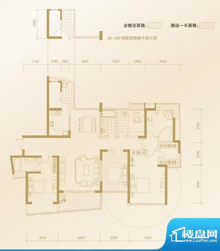 凤凰海域户型图D2户型 4室2厅3面积:196.87平米