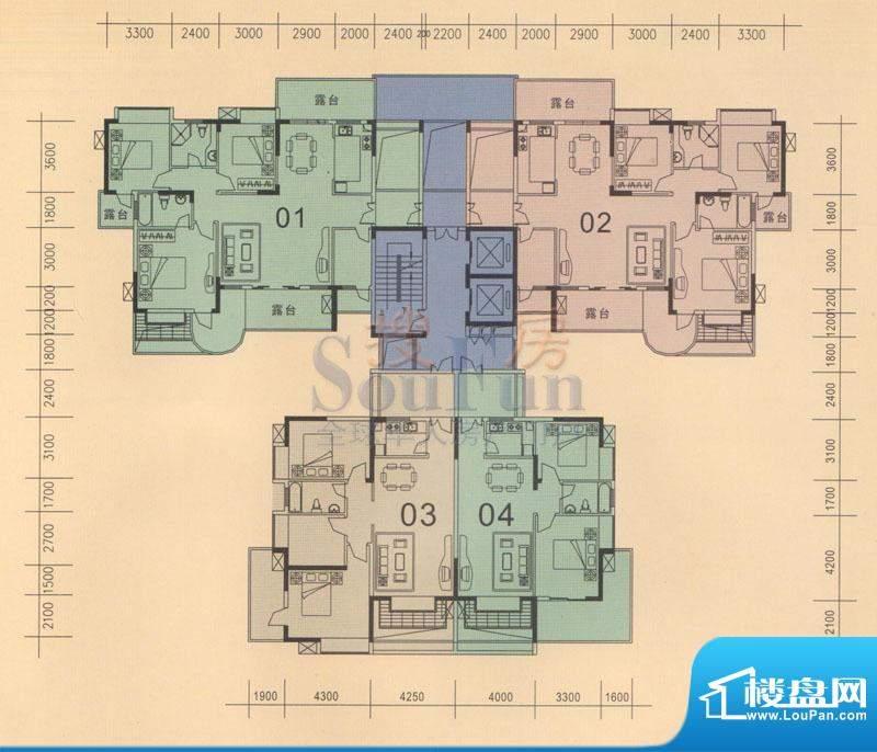 旭日华庭户型图6、7、8号楼04房面积:85.09平米