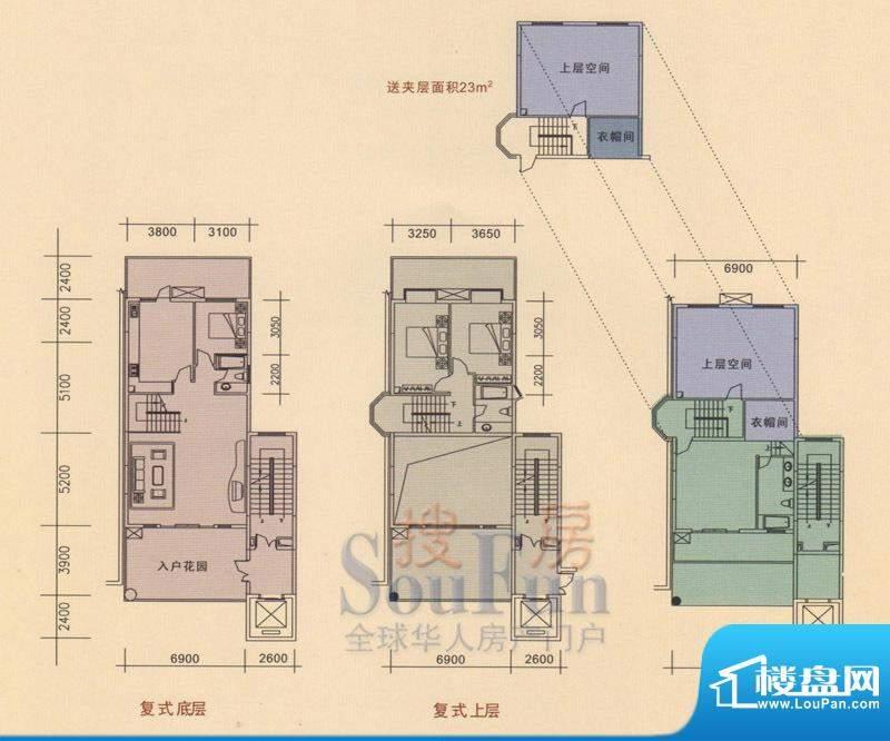 旭日华庭户型图4号楼1~6单元01面积:257.41平米