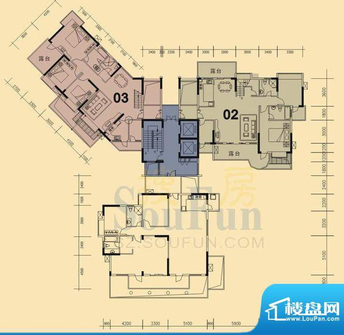 旭日华庭户型图5号楼17层复式底面积:229.00平米