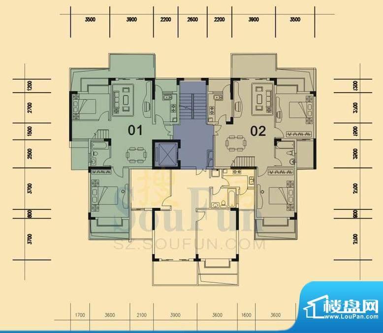 旭日华庭户型图1号楼9层复式底面积:174.00平米