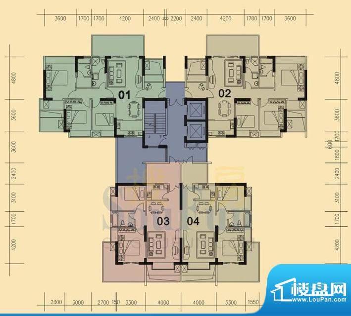 旭日华庭户型图1号楼 3室面积:96.00平米