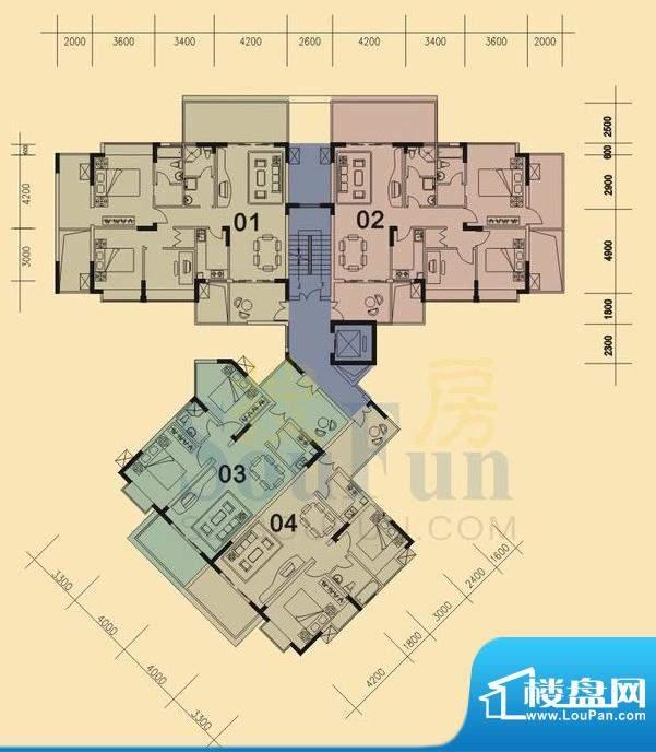 旭日华庭户型图3号楼1、2单元 面积:107.00平米