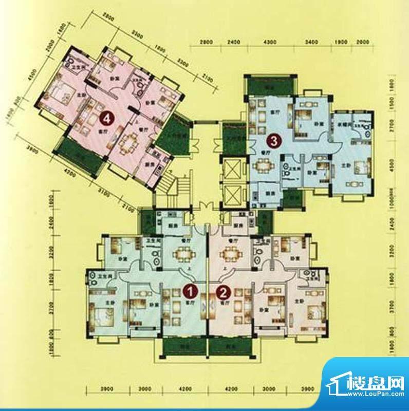 海逸豪庭户型图20栋3单元户型图面积:128.81平米