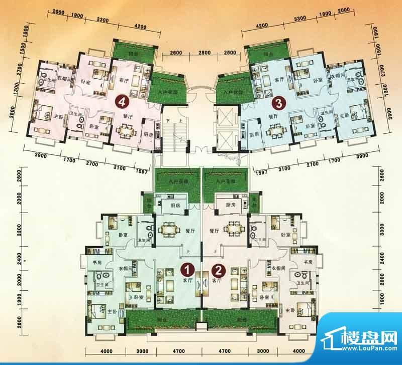 海逸豪庭户型图20栋1~2单元户型面积:161.62平米