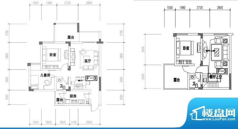 金澜半岛f3户型 3室面积:99.92m平米