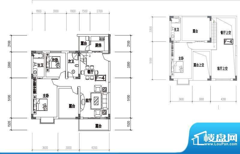 金澜半岛F4户型 3室面积:130.95m平米