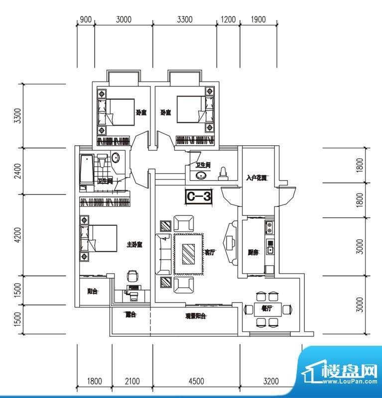 金澜半岛C3户型 3室面积:121.85m平米