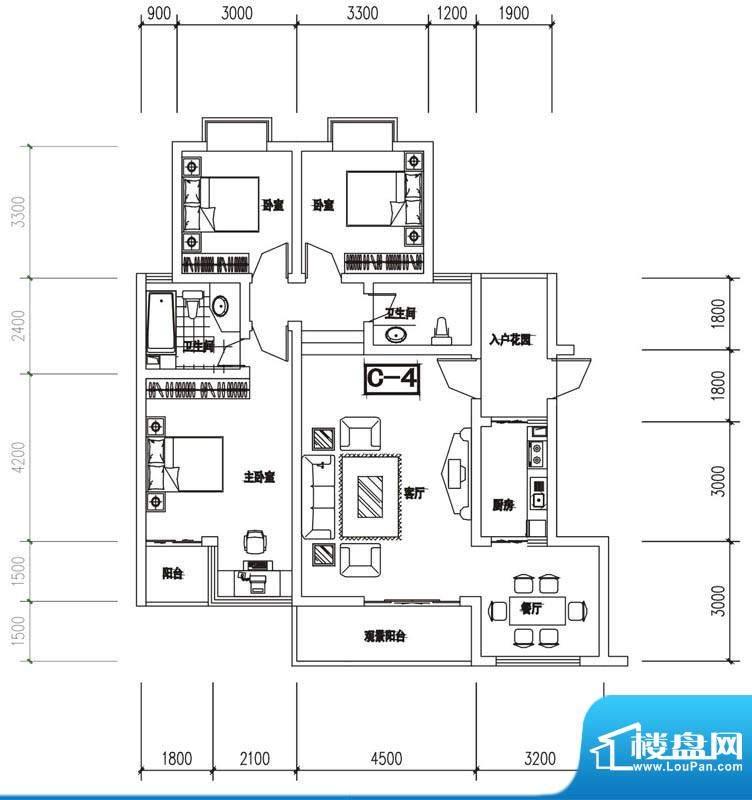 金澜半岛C4户型 3室面积:121.85m平米