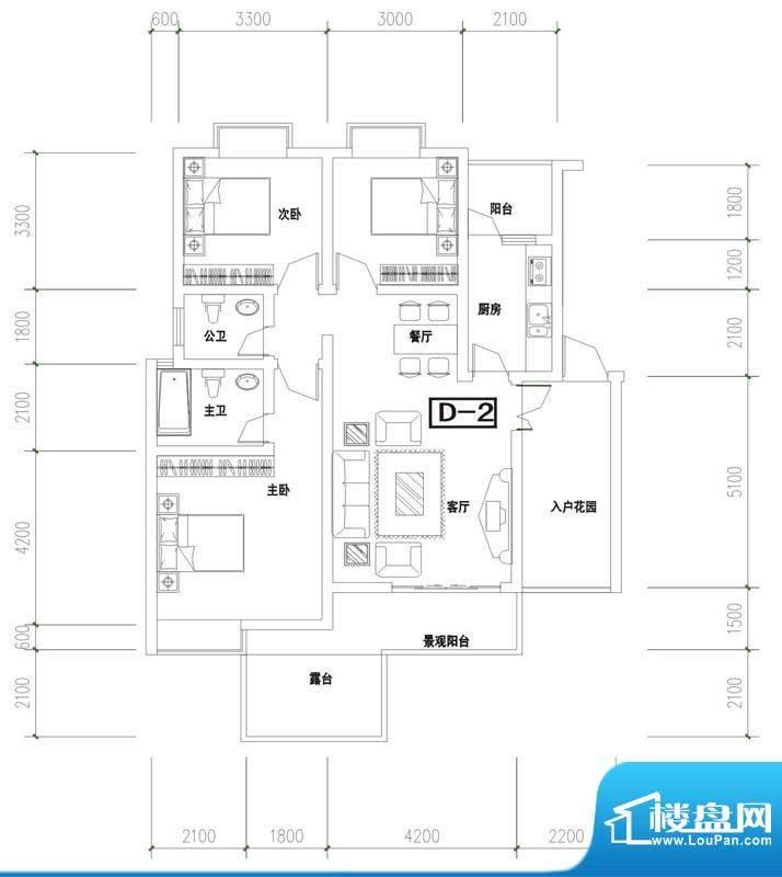金澜半岛D2户型 3室面积:109.31m平米