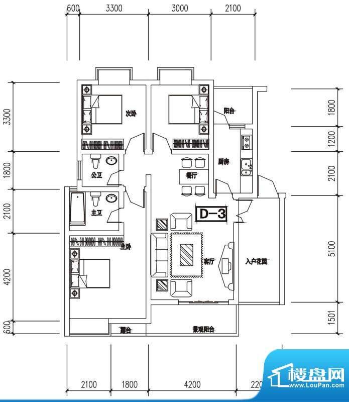 金澜半岛D3户型 3室面积:109.31m平米