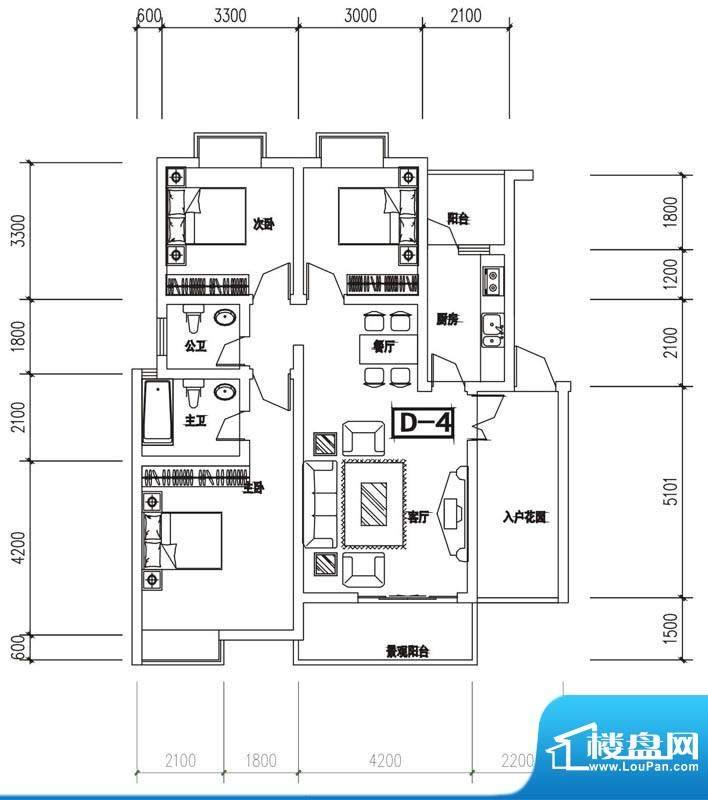 金澜半岛D4户型 3室面积:109.31m平米