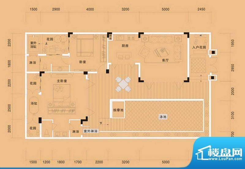 布洛陀小镇A户型 2室面积:99.28m平米