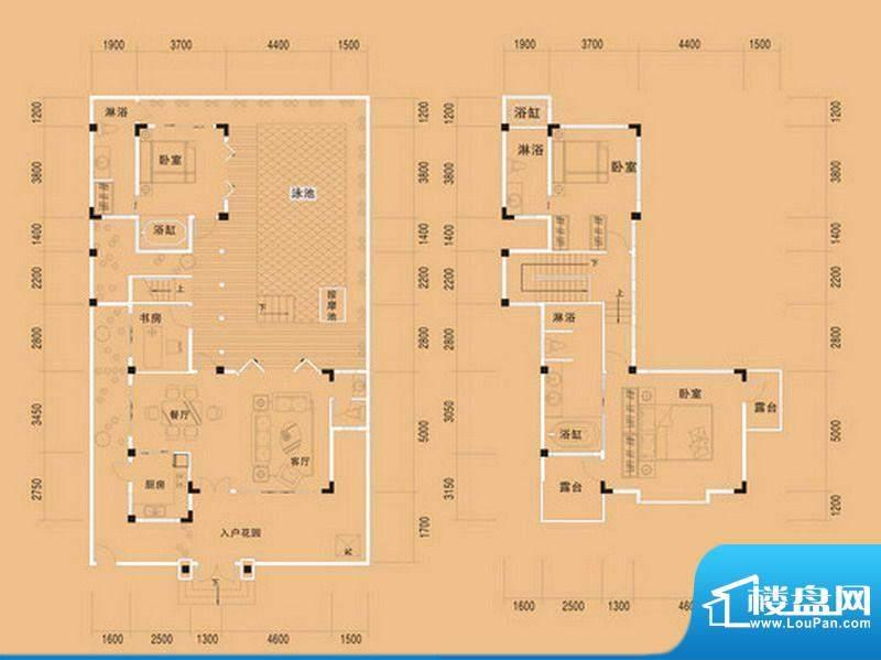 布洛陀小镇E户型 4室面积:196.68m平米
