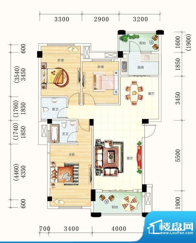 碧园未来城10#楼A户面积:108.00m平米