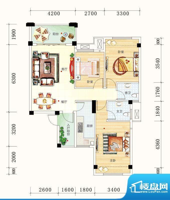 碧园未来城10#楼C户面积:101.00m平米