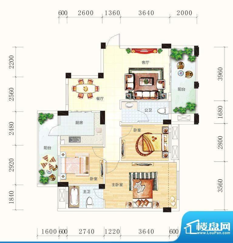 碧园未来城10#楼H户面积:110.00m平米
