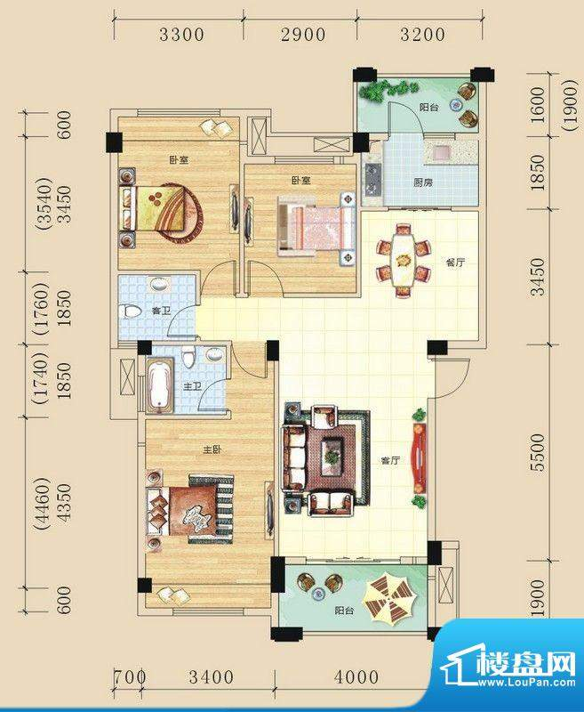 碧园未来城A户型三房面积:107.00m平米