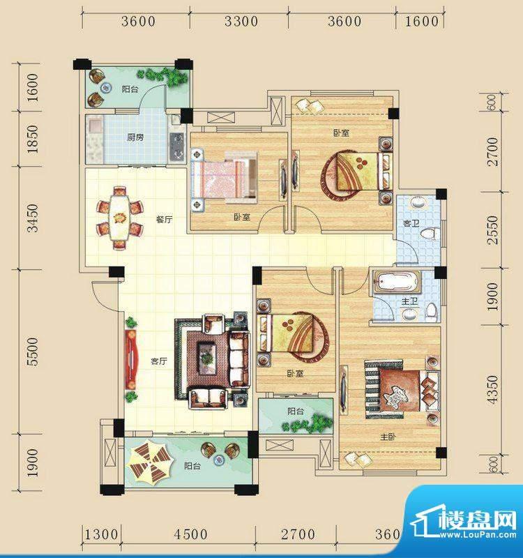 碧园未来城B户型四房面积:135.00m平米