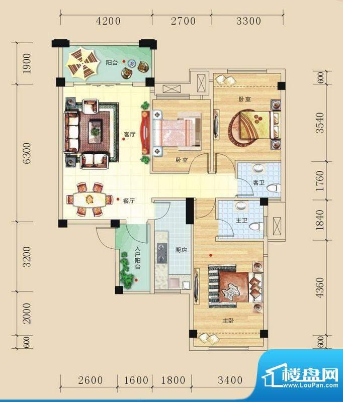 碧园未来城C户型三房面积:99.00m平米