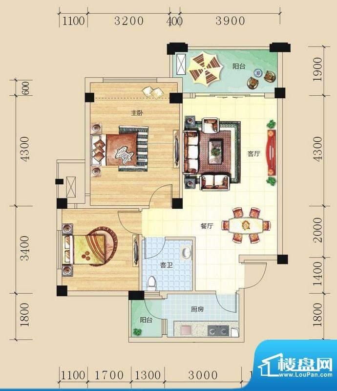 碧园未来城D户型两房面积:77.00m平米