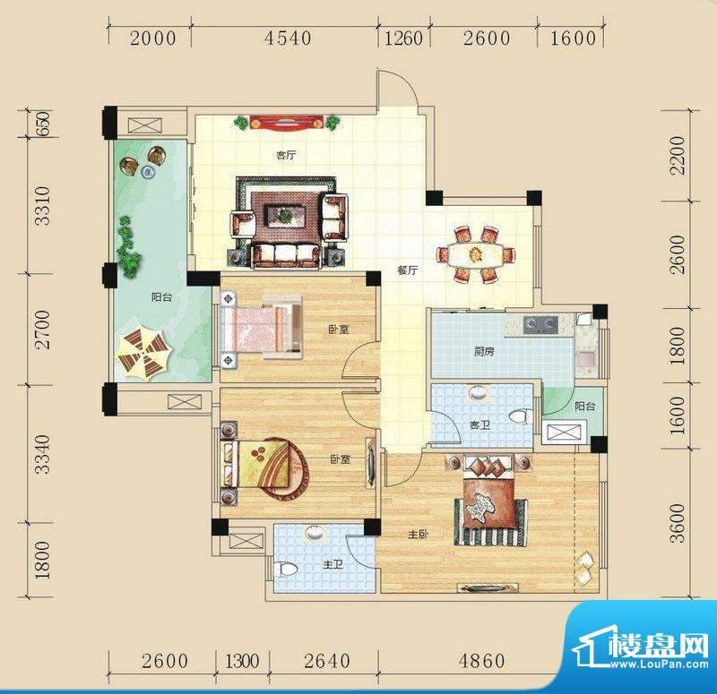 碧园未来城E户型三房面积:110.00m平米