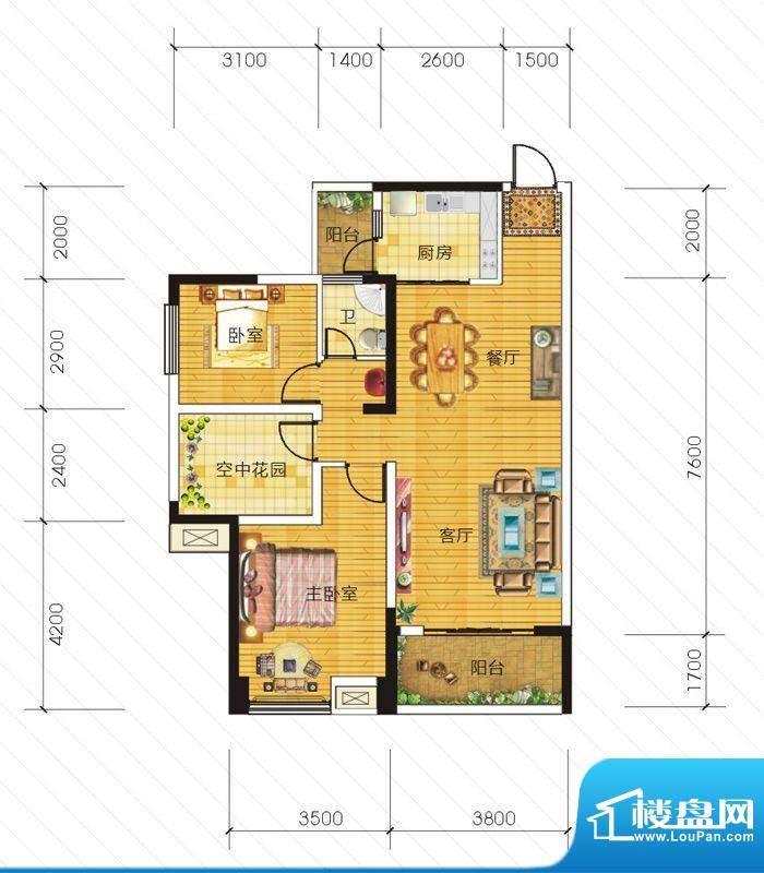 东信华府A1户型 2室面积:89.99m平米