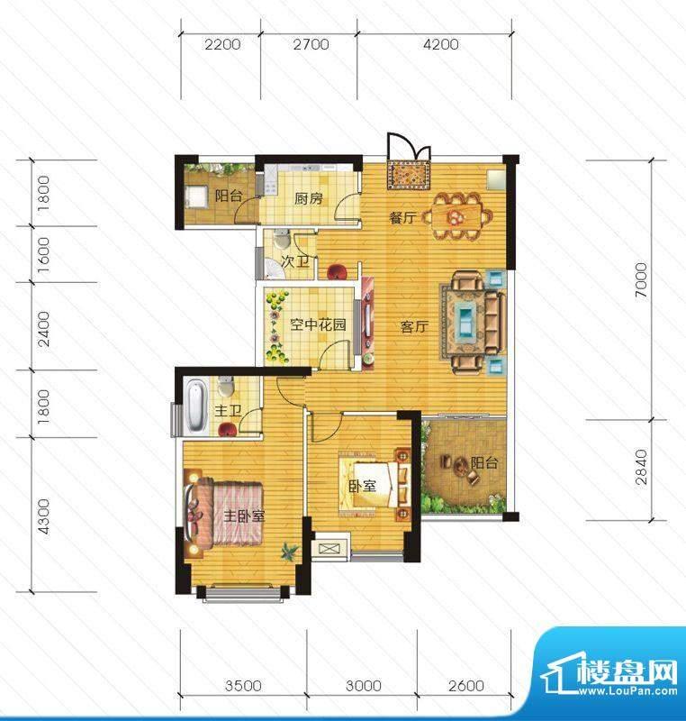 东信华府A2户型 2室面积:96.61m平米