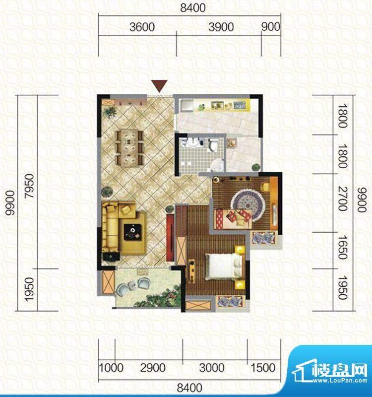 天仙湖棕榈长滩户型图一期3号楼面积:80.69平米