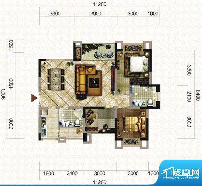 天仙湖棕榈长滩户型图一期3号楼面积:102.66平米