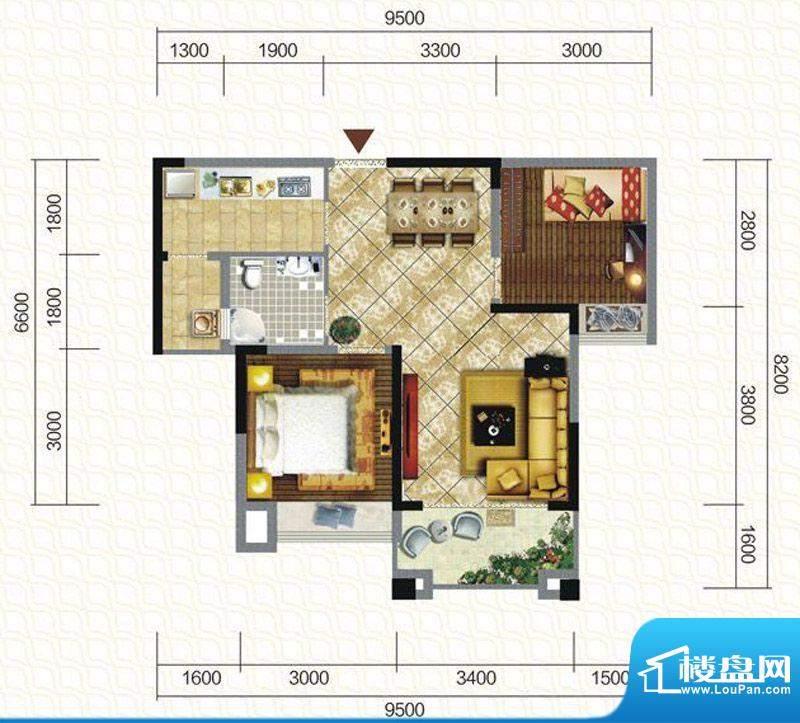天仙湖棕榈长滩户型图一期3号楼面积:72.16平米