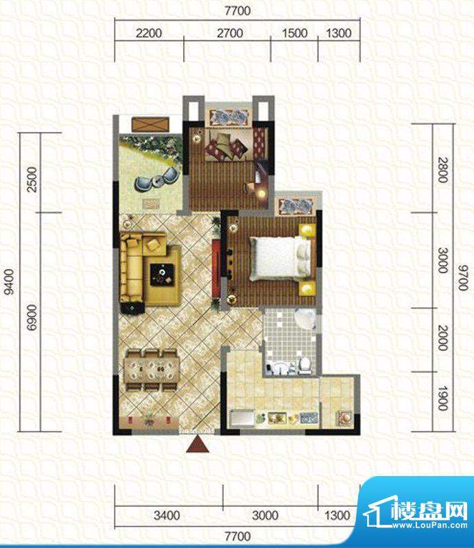 天仙湖棕榈长滩户型图一期3号楼面积:74.41平米