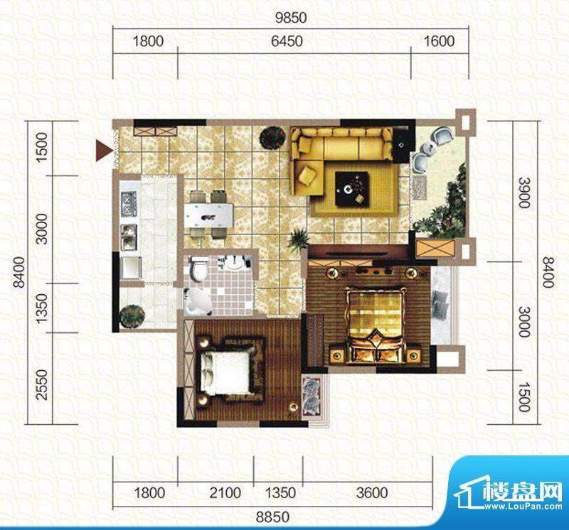 天仙湖棕榈长滩户型图一期3号楼面积:80.74平米