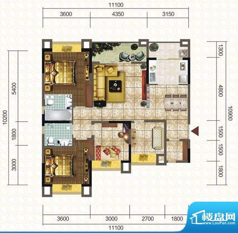 天仙湖棕榈长滩户型图一期3号楼面积:119.90平米