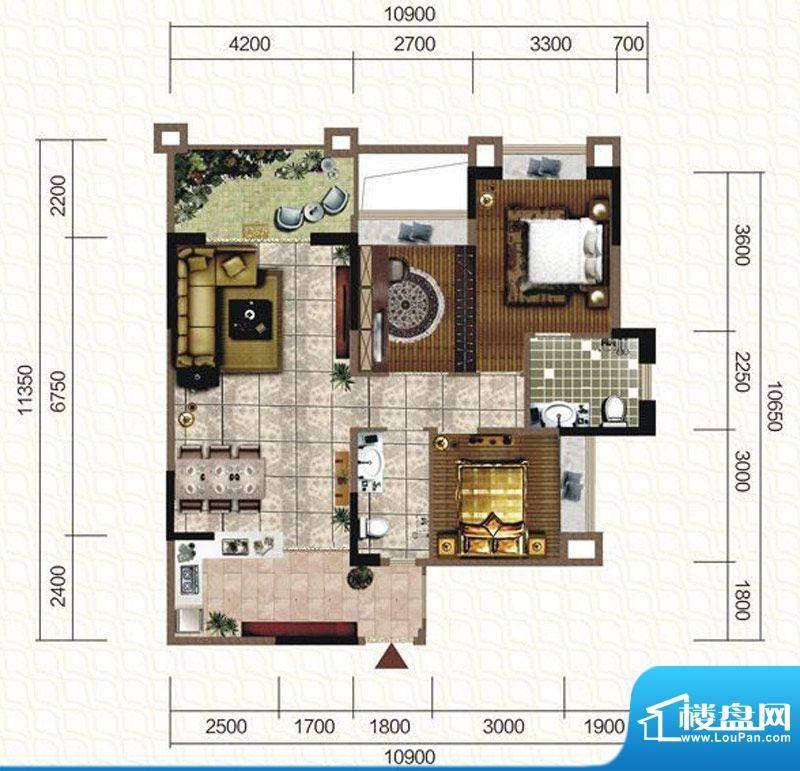 天仙湖棕榈长滩户型图一期3号楼面积:114.03平米