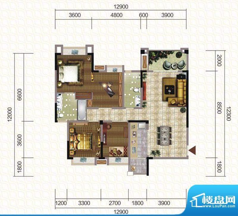 天仙湖棕榈长滩户型图一期3号楼面积:141.11平米
