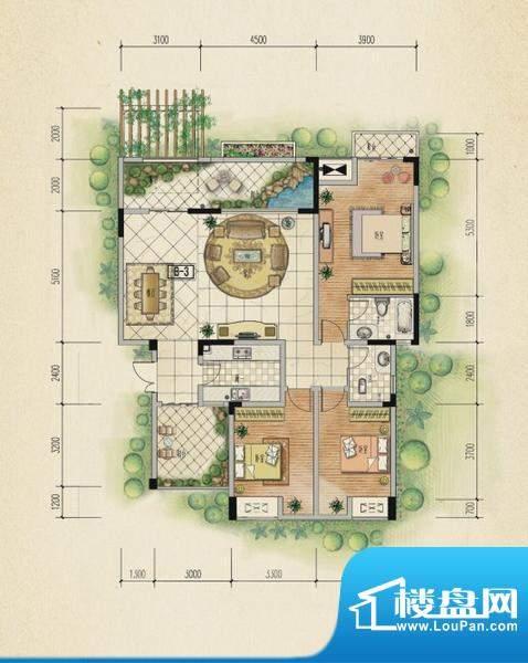 万山国际户型图一期1号楼3层A户面积:135.13平米