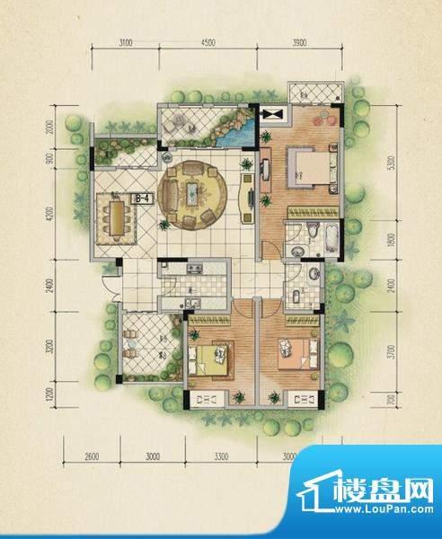 万山国际户型图一期1号楼4层A户面积:128.30平米